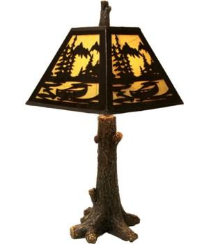 Table Lamp - Rustic Tree Metal Shade 24 in.