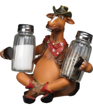 Salt and Pepper Shakers - Horse Holding 7.5 x 5.5 x 7.5 in.