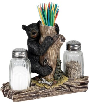 Salt and Pepper Shakers - Bear with Toothpick Holder 7.5 x 5.5 x 7.5 in.