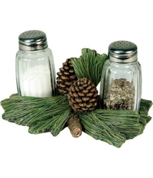 Salt and Pepper Shakers - Pine Cone 7.5 x 5.5 x 7.5 in.