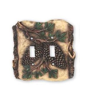 Switch Plate Cover Double - Pine Cone
