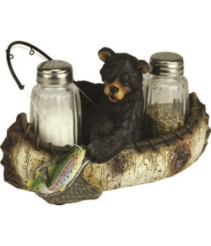 Salt and Pepper Shakers - Fishing Bear 7.5 x 5.5 x 7.5 in.