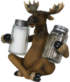 Salt and Pepper Shakers - Moose Holding 7.5 x 5.5 x 7.5 in.
