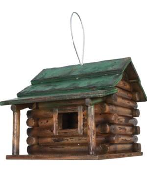 Birdhouse - Wood Log Cabin 7.5 x 9 x 7.5 in.