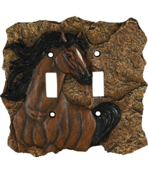 Switch Plate Cover Double - Horse