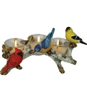 Candle Holder - Birch with Birds 3-Piece 11 in.