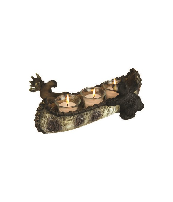Candle Holder - Bear and Moose 13 in.
