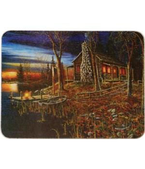 Cutting Board 12in x 16in - Cabin Scene
