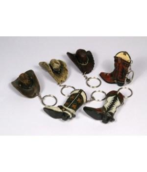 Cowboy Hat/Boot Keychain Asst in.