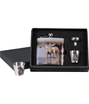Flask 7oz and Shot Set - Horse