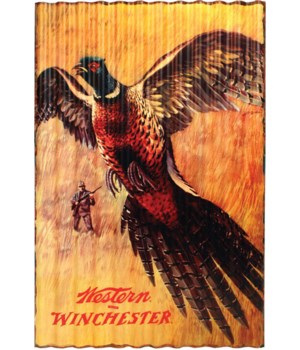 Corrugated Metal Sign 15in x 22in - Winchester Pheasant
