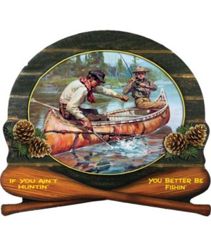 Wood Sign 15in x 14in - Winchester Fisherman