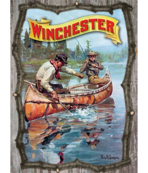 Wood Sign 15in x 14in - Winchester 3D Fish Canoe