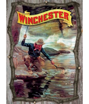 Wood Sign 15in x 14in - Winchester 3D Fisherman