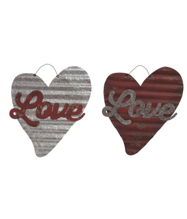 Corrugated Metal Heart Decor 2 Asst
