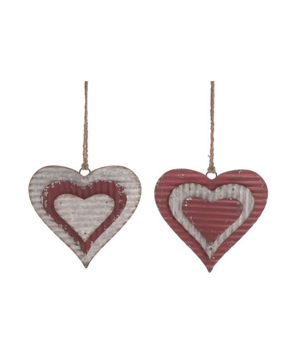 Metal Dimensional Heart Decor 2 Asst