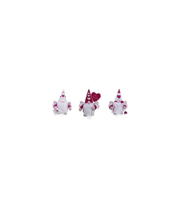 Plush Valentine Gnome Sitter 3 Asst