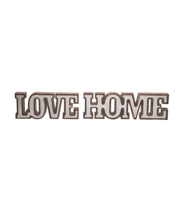 MDF/Metal LOVE/HOME Decor 2 Asst