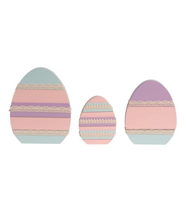 MDF Decorated Eggs S/3