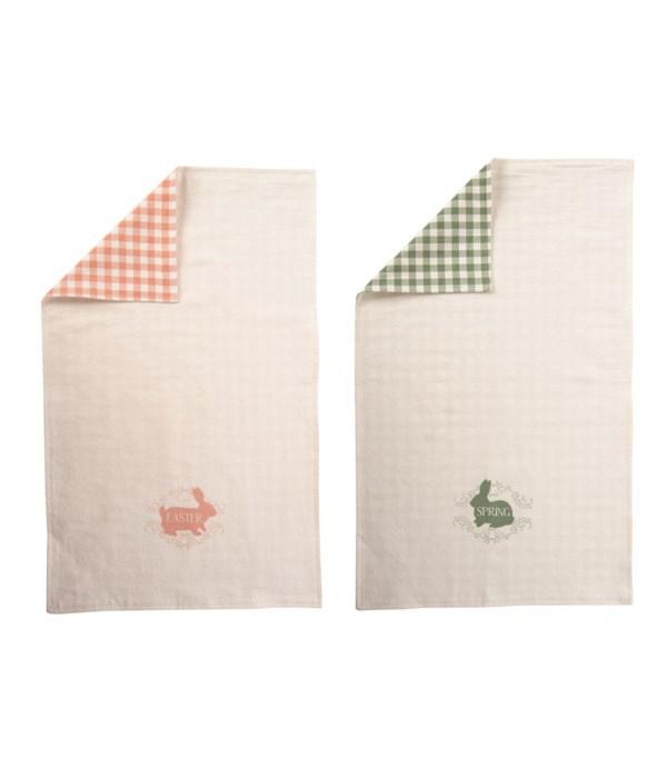 Cotton Reversible Bunny Tea Towel 2 Asst