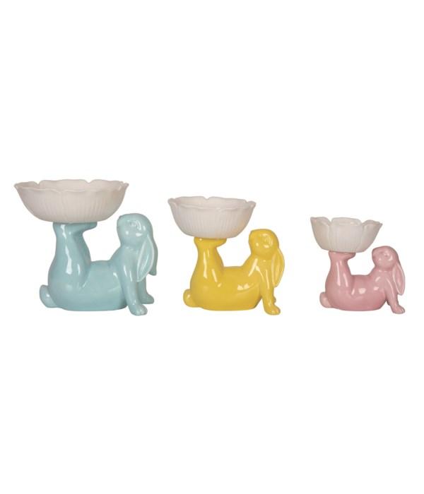 Cer Bunny & Flower Bowls S/3