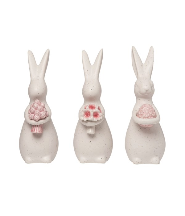 Cer Bunny w/Flower Decor 3 Asst