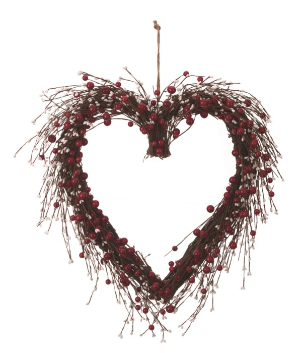 Faux Red/White Berry Heart Wreath
