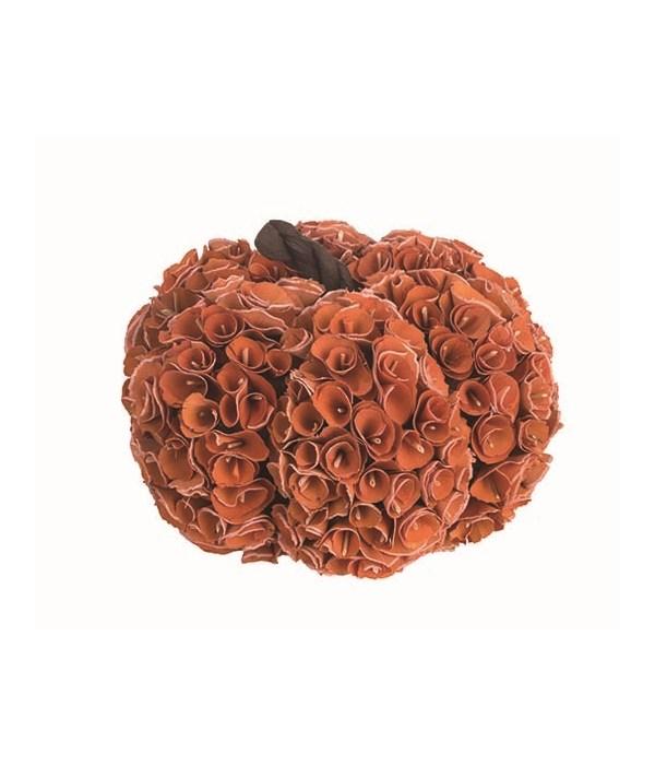 Sm Wood Rosette Pumpkin