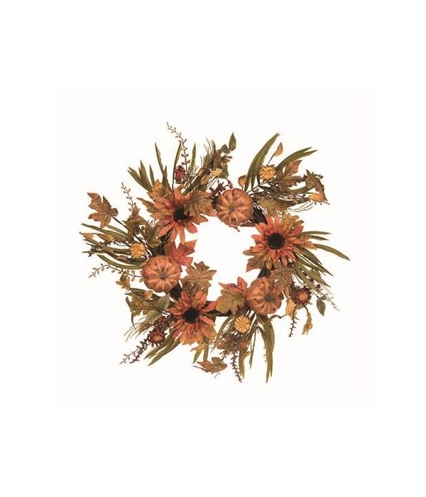 Pumpkins & Orange Sunflowers Wreath