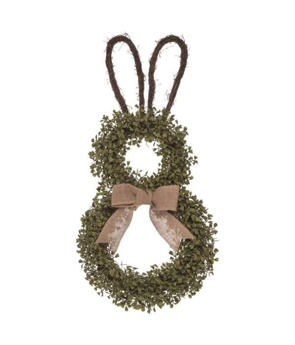 Boxwood Shaped Easter Bunny Wreath