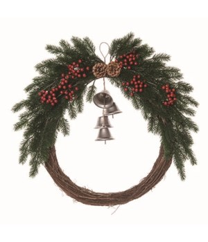 Mistletoe Wreath w/Hanging Bells