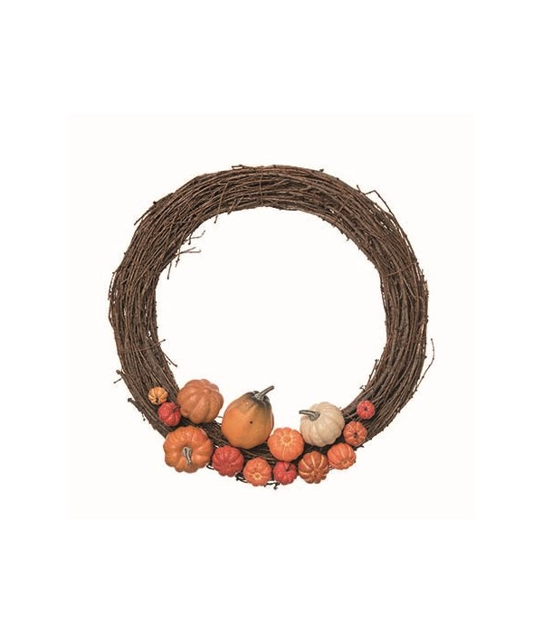 Twig Branch Wreath w/Faux Pumpkins