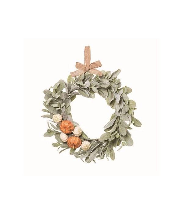 Lambs Ear Wreath w/Pumpkins