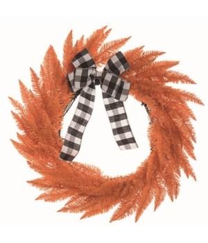 Halloween Wreath w/Buffalo Checker Bow
