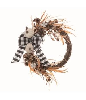 Twig Pumpkin Checker Bow Wreath
