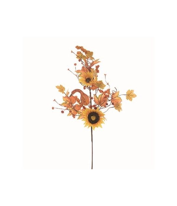 Golden Autumn Sunflower & Leaf Spray