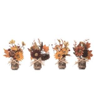 Autumn Burlap Centerpiece 4 Asst