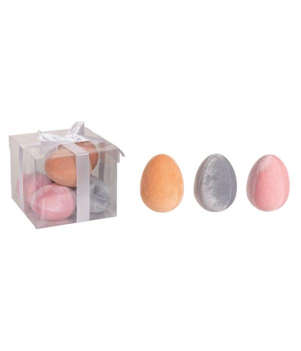 Foam Velvet Egg Decor S/6 In Box