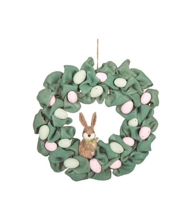 Burlap Egg & Bunny Wreath