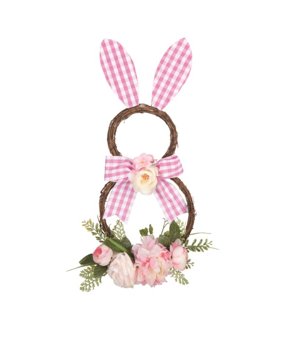 Twig Gingham Bunny Wreath Decor