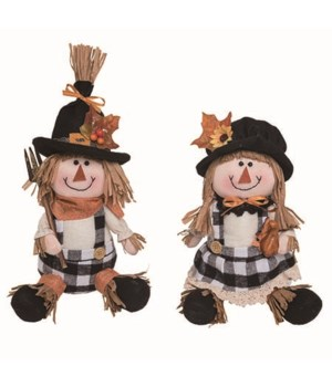 Plush Plaid Scarecrow Sitter 2 Asst