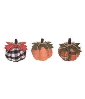 Sm Plush Buffalo Check Pumpkin 3 Asst