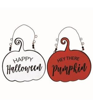 Metal Pumpkin Hanger 2 Asst