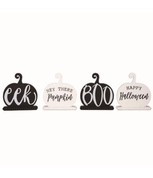 MDF Black/White Pumpkin Decor 4 Asst