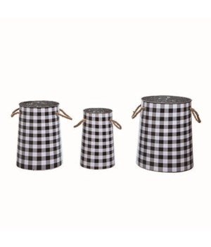 Metal Nesting Buffalo Check Buckets S/3