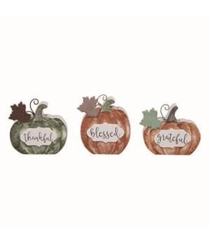 MDF Harvest Pumpkin Decor 3 Asst