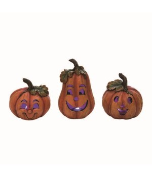 Res Light Up Jack-O-Lantern Decor 3 Asst