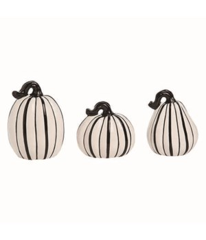 Dol Slim Black & White Pumpkins S/3