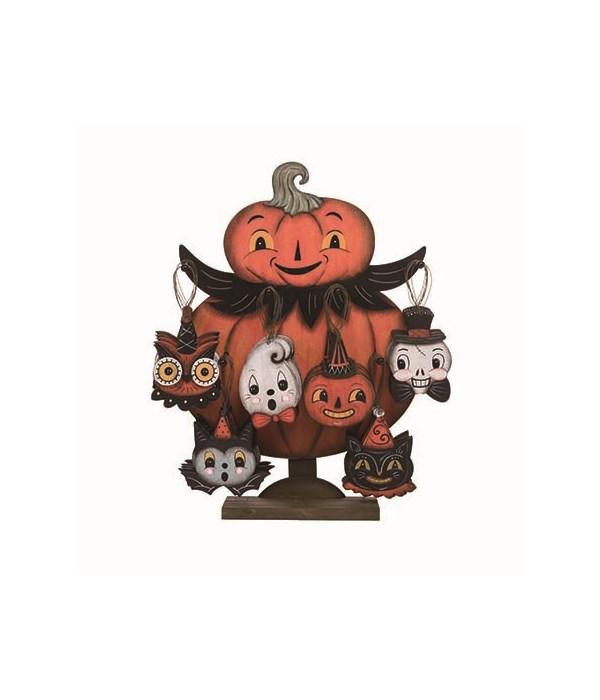 Plywood Pumpkin Peeps Orn Display S/48
