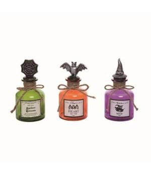 Glass Witch Potion Bottle Decor 3 Asst